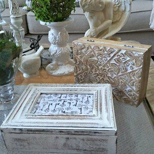 SHABBY Farmhouse COTTAGE Wood BOXES Set/2